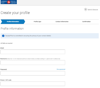 """Create your profile"" page on Canada Post website."