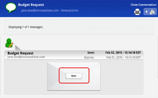 "Example of new message received with an ""Open"" button in the center of an envelope."
