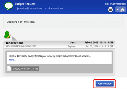 "Example of new message window with text and an attached document, and the ""Post message"" button."
